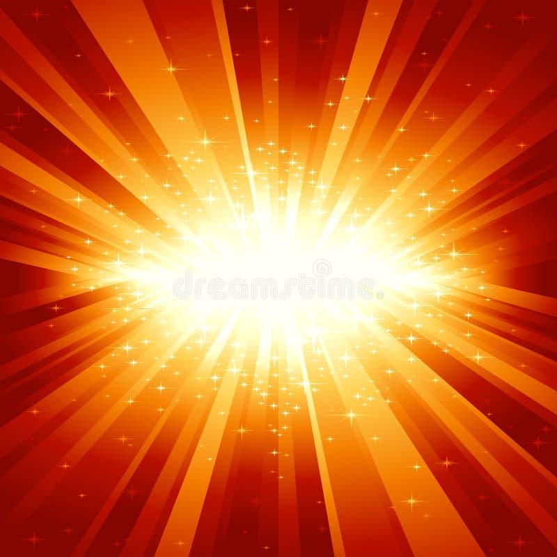 Rote goldene Leuchte gesprengt mit Sternen vektor abbildung