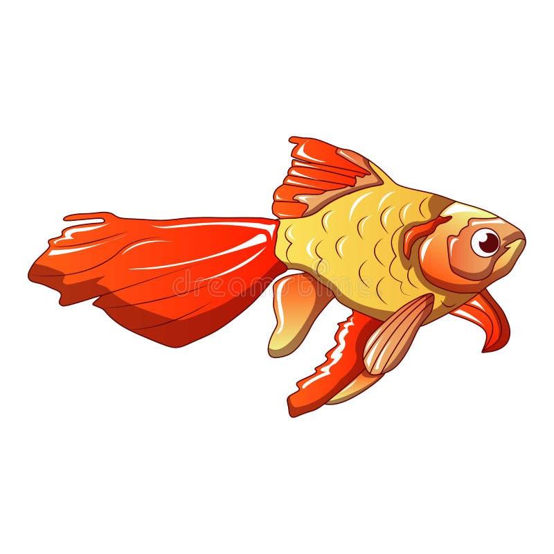 Rote Goldfischikone, Karikaturart lizenzfreie abbildung