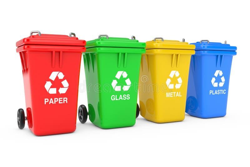 Rote, grüne, gelbe und blaue Papierkörbe mit Recycling-Symbol Wiedergabe 3d stockfoto