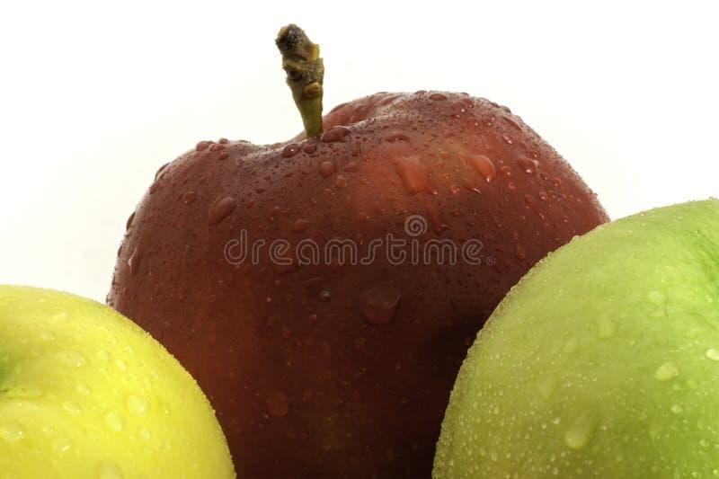 Rote, grüne und gelbe Äpfel mit Wasser lässt Nahaufnahmeschuß fallen lizenzfreie stockbilder