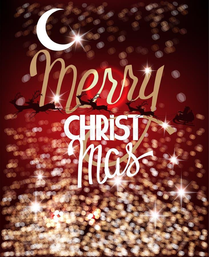 Rote Grußkarte der frohen Weihnachten mit defocused Lichtern auf dem Hintergrund und Renen mit Sankt-Pferdeschlitten lizenzfreie abbildung