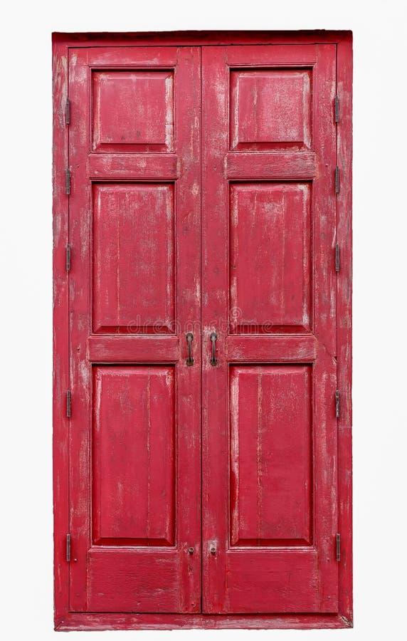 Rote hölzerne Tür stockfotos