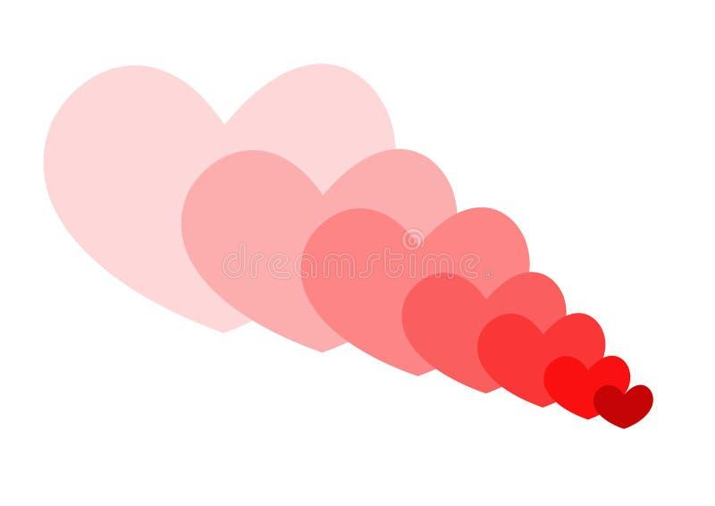Rote Herzen überlagern für Valentinsgrußkarte auf dem weißen Hintergrund stock abbildung