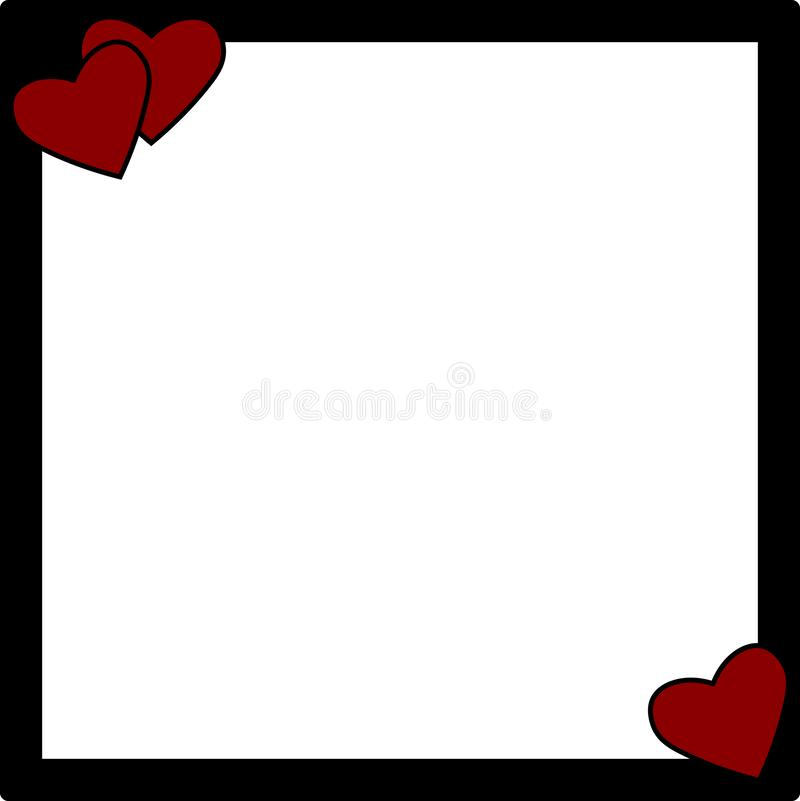 Rote Herzen auf einem schwarzen Fotorahmen stock abbildung