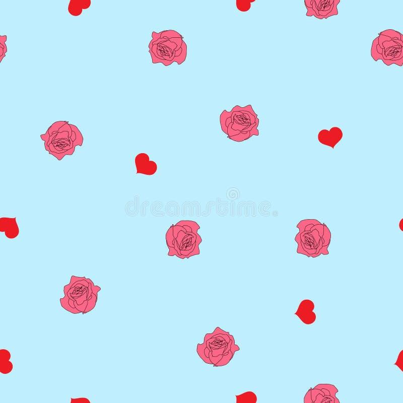 Rote Herzen des nahtlosen Musters und rosa Rosen auf Blau, Vektor ENV 10 stock abbildung