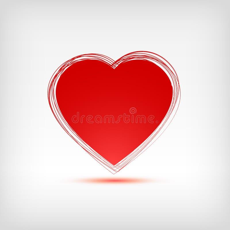 rote Herzform auf weißem Hintergrund vektor abbildung