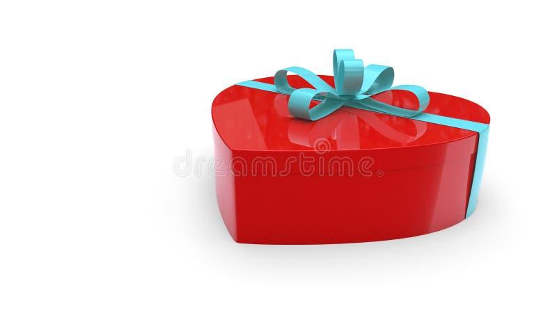 Rote Herzgeschenkbox auf einem weißen Hintergrund, Wiedergabe 3d vektor abbildung