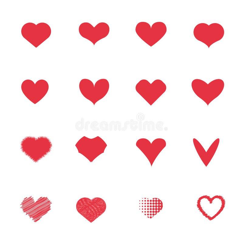 Rote Herzikonen eingestellt Liebe und romantisches Konzept Paar- und Liebhaberkonzept Verarbeitet mit Weinleseart lizenzfreie abbildung