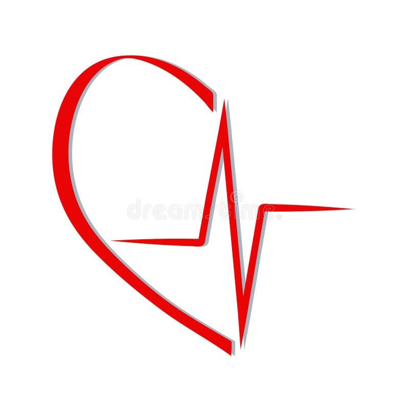 Rote Herzschlagikone im medizinischen Entwurf der Kardiologie über weißer Hintergrundvektorillustration vektor abbildung