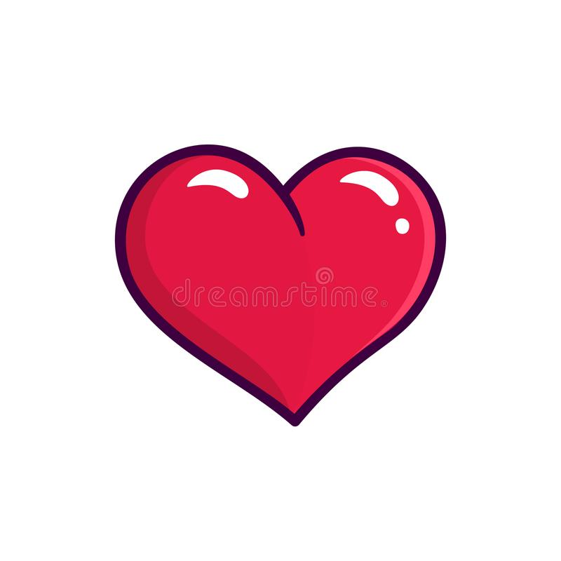 Rote Herzvektorikone lokalisiert auf weißem Hintergrund stock abbildung