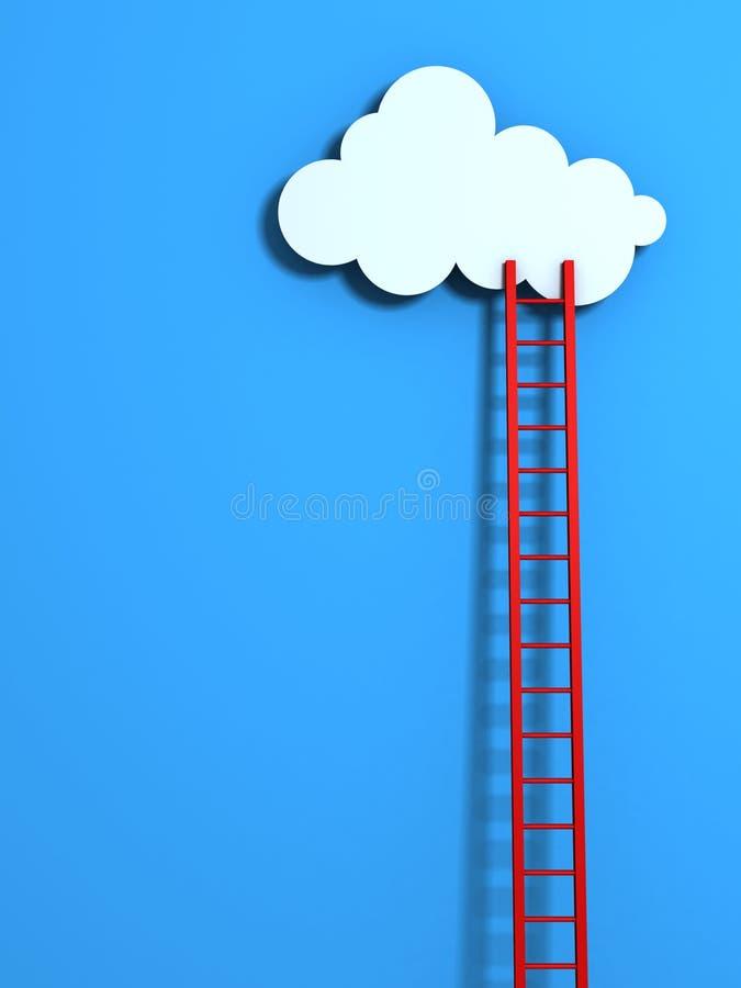 Rote hohe Strichleiter, die zu eine Wolke auf blauem Himmel führt stock abbildung