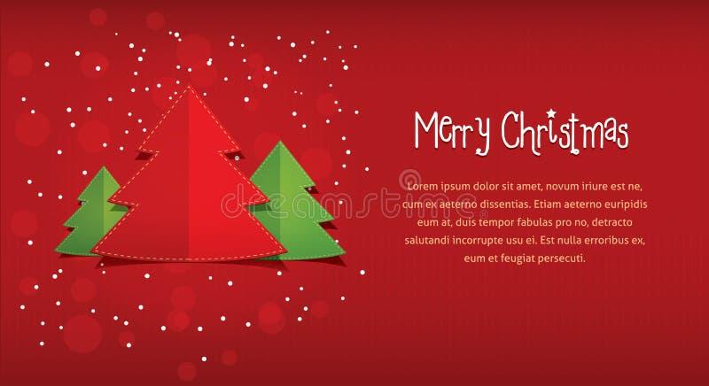 Rote horizontale Postkartenillustration der frohen Weihnachten, Kartenfahne des neuen Jahres lizenzfreie abbildung