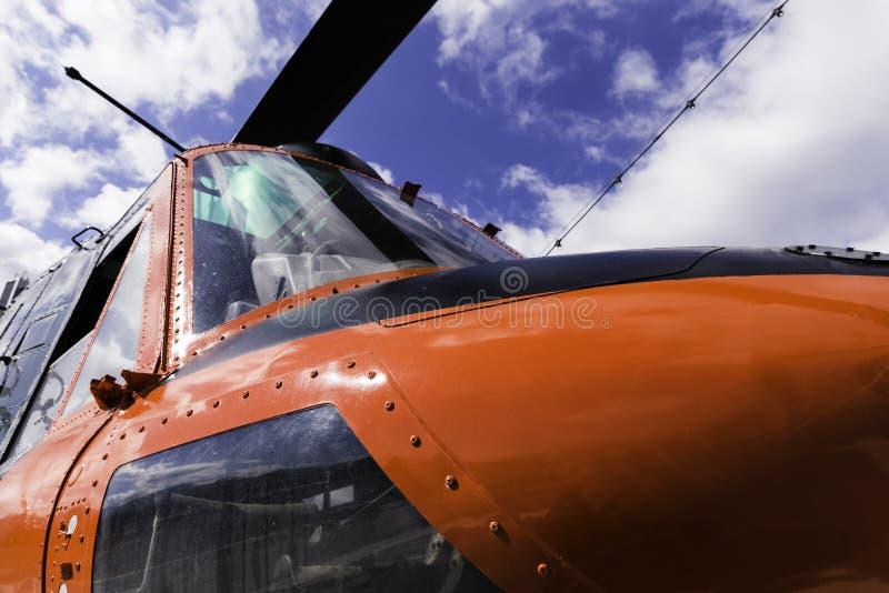 Rote Hubschraubernahaufnahmeansicht lizenzfreie stockbilder