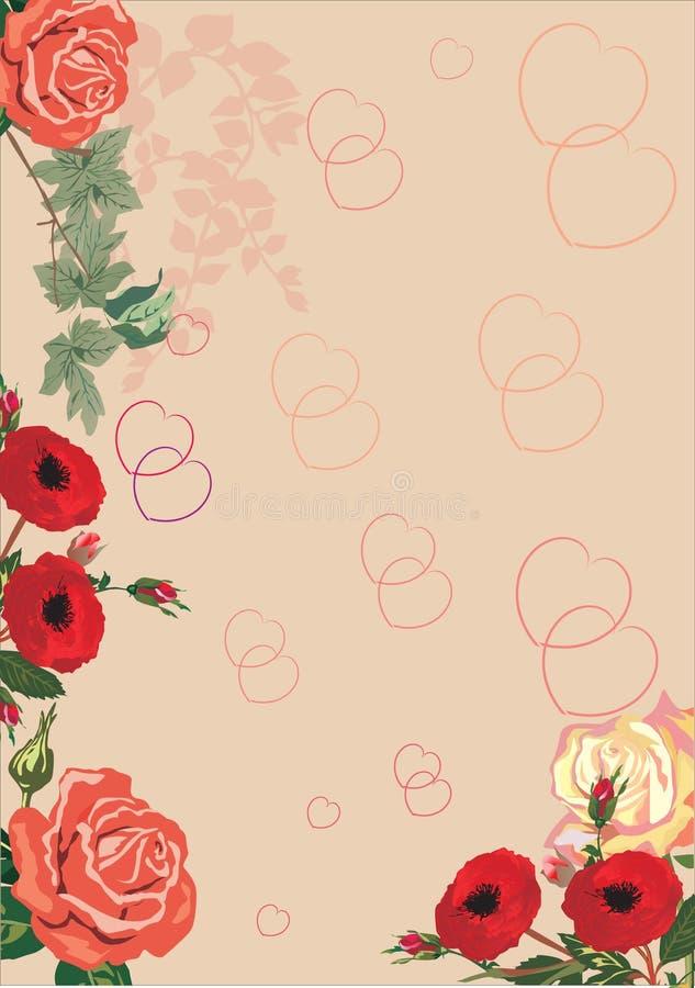 Rote Innere und Rosehintergrund vektor abbildung