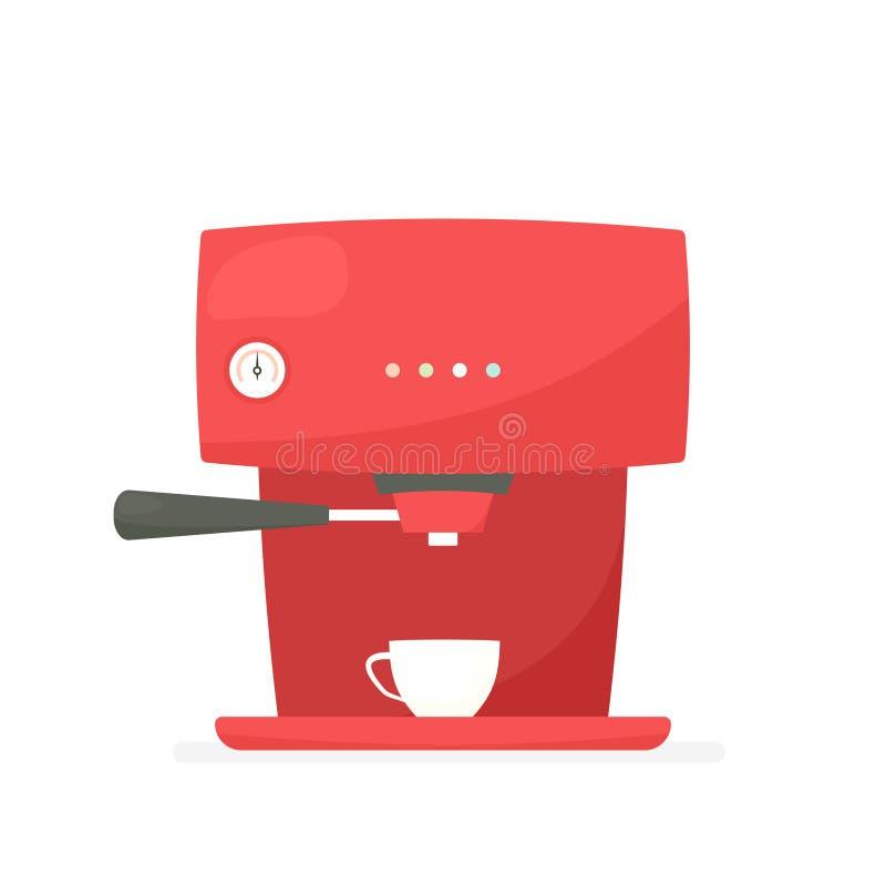 Rote Kaffeemaschine lizenzfreie abbildung