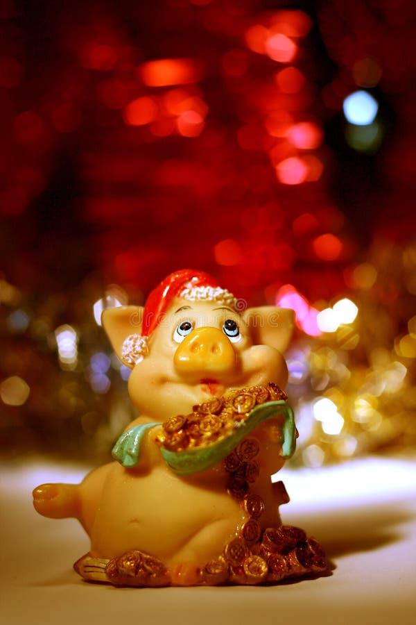 Rote Karte des neuen Jahres mit Schwein lizenzfreie stockfotografie