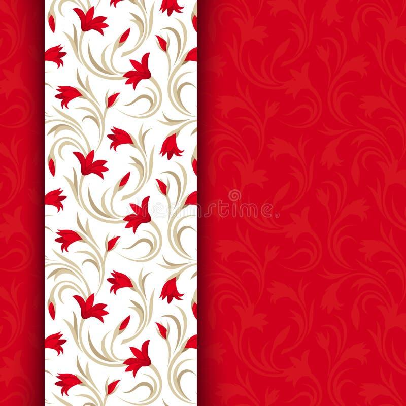 Rote Karte mit Blumenmuster. lizenzfreie abbildung