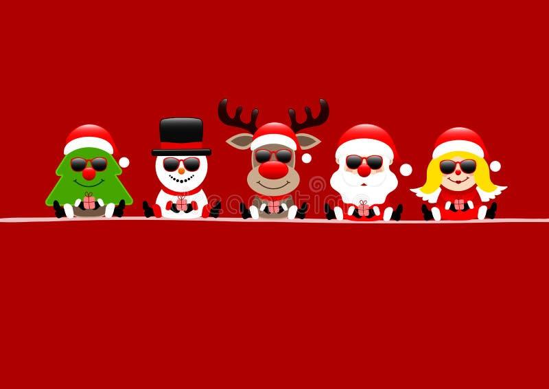 Rote Karten-Baum-Schneemann-Ren Santa And Angel With Sunglasses lizenzfreie abbildung