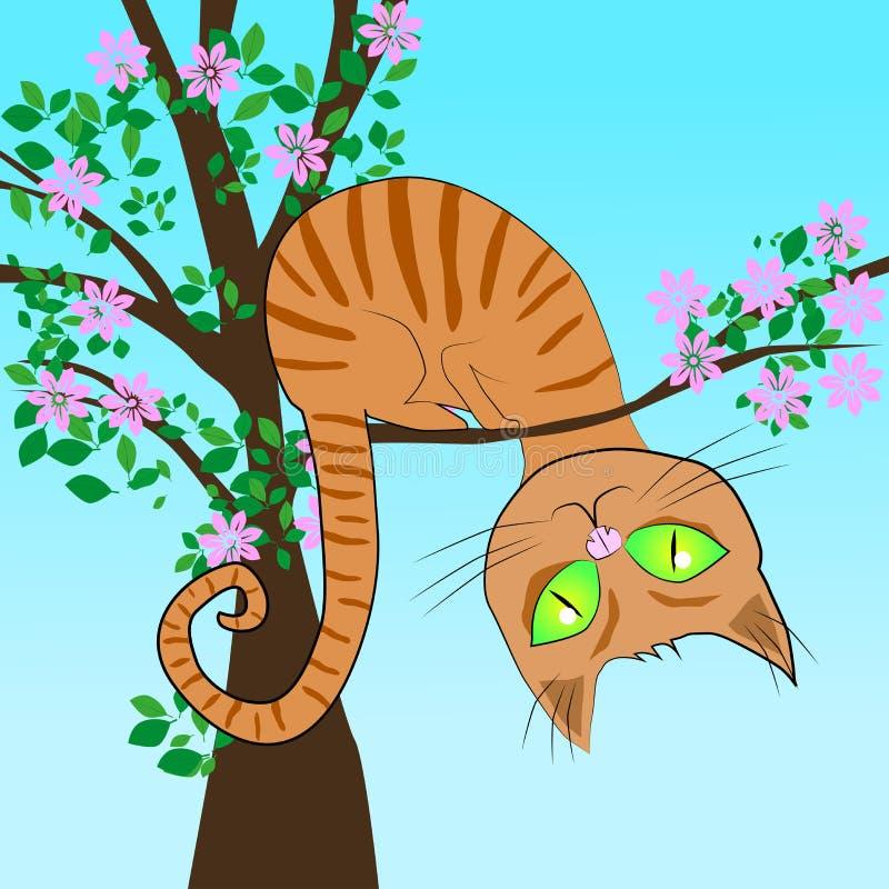 Rote Katze in einem Baum lizenzfreie abbildung