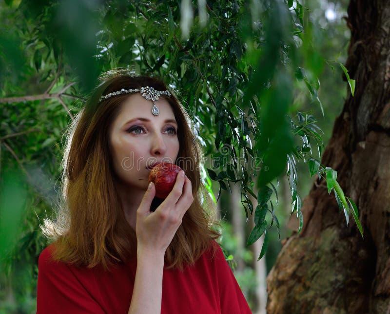 Rote Kleiderdame im Dschungel lizenzfreies stockfoto