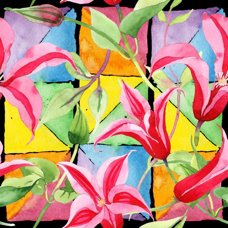 Rote Klematis Botanische mit Blumenblume Wildes Federblatt Wildflowermuster lizenzfreie abbildung