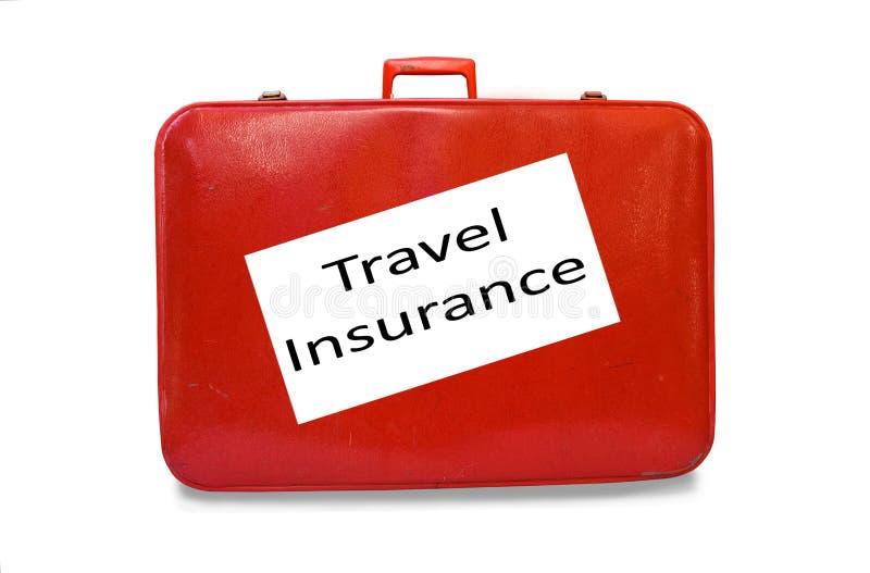 Rote Koffer-Reisen-Versicherung lizenzfreie stockfotos