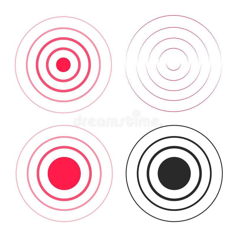 Rote Kräuselung schellt Schallwelleikonen Satz, Linie Kreissteigung, Funksignalschwarzweiss-Linien mit großem Punkt herein vektor abbildung