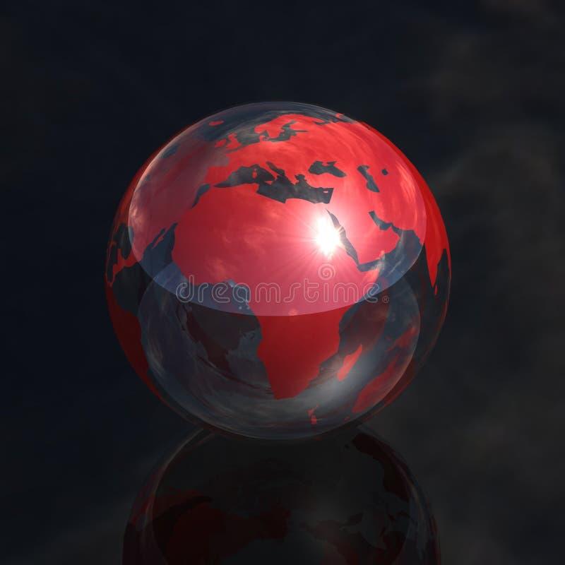 Rote Kristallkugel Afrika 3d lizenzfreie abbildung
