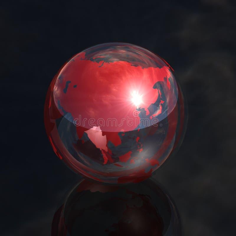 Rote Kristallkugel Asien 3d lizenzfreie abbildung