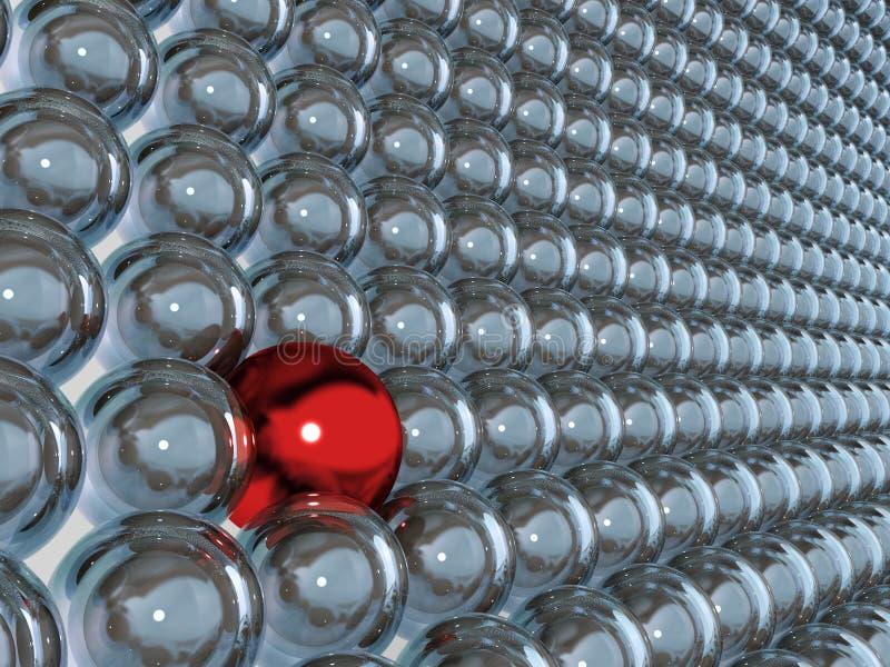 rote Kugel 3d als Individualität stock abbildung