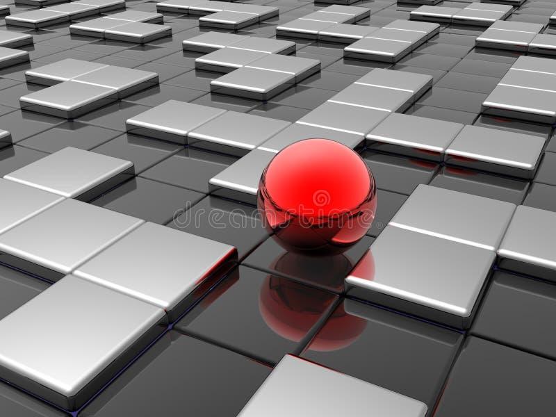 Rote Kugel im Labyrinth vektor abbildung
