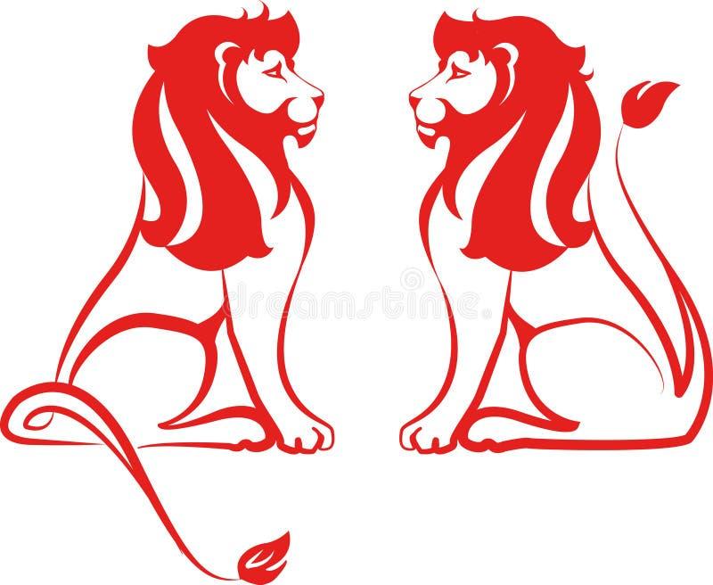 Rote Löwen lizenzfreie stockfotografie