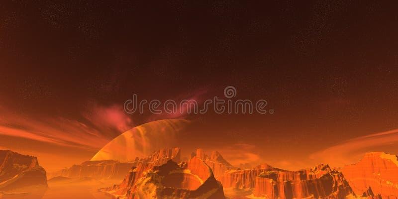 Rote Landschaft stock abbildung