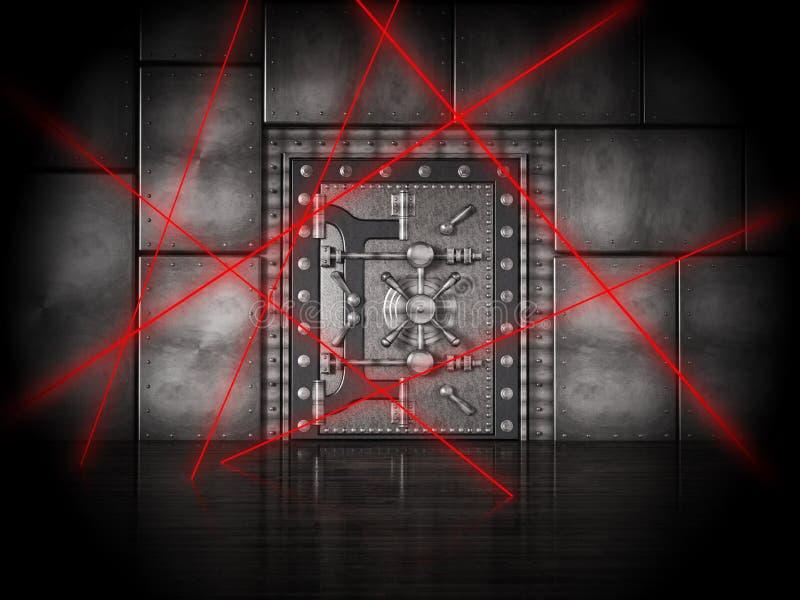Rote Laserstrahlen auf Banktresortür unter schwerem Schutz Abbildung 3D vektor abbildung