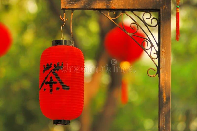 Rote Laterne eines Teehauses lizenzfreies stockfoto