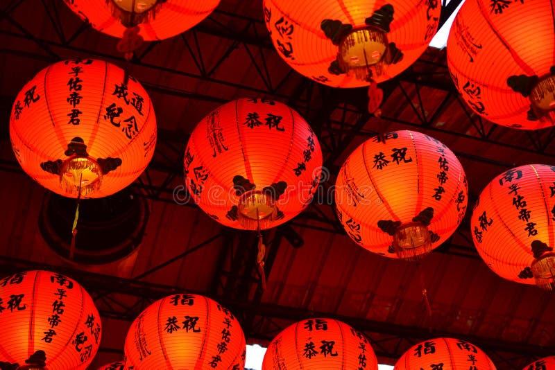 Rote Laterne in Taiwan und in China, Tempeldekoration stockfotografie