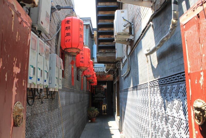 Rote Laternen in Peking, China lizenzfreie stockfotografie