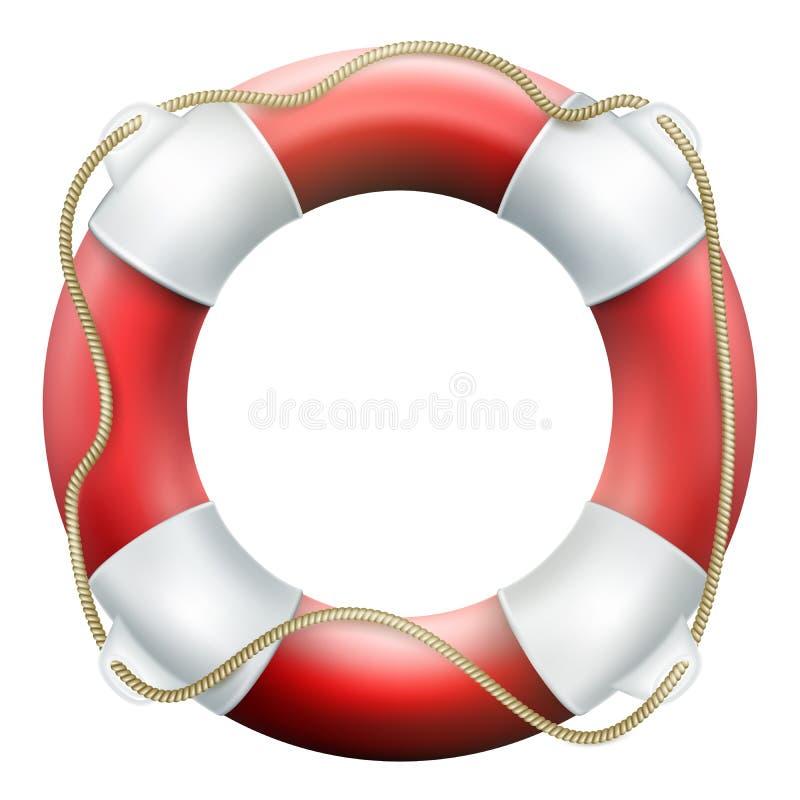 Rote Lebenboje mit Seil Getrennt auf weißem Hintergrund Rettungskreis für schnelle Hilfe ENV 10 vektor abbildung