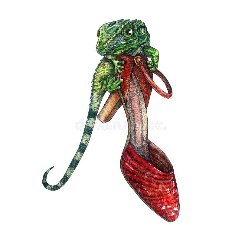 Rote lederne Fersenschuhe mit grüner Eidechse auf ihr, handgemaltes Aquarell mit Tintenzeichnung lizenzfreie abbildung