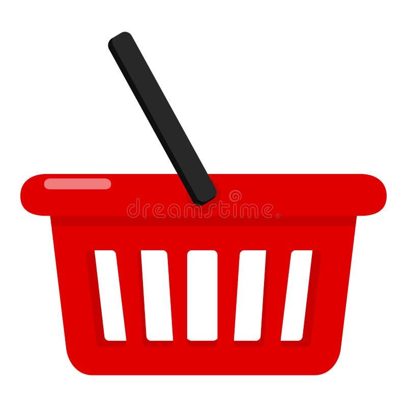 Rote leere Einkaufskorb-flache Ikone vektor abbildung