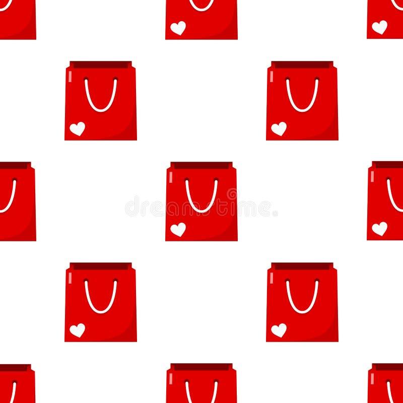 Rote leere Einkaufstasche-nahtloses Muster stock abbildung