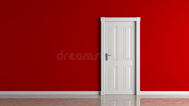 Rote leere Wand und geschlossener weißer Türspott oben Abbildung 3D stock abbildung