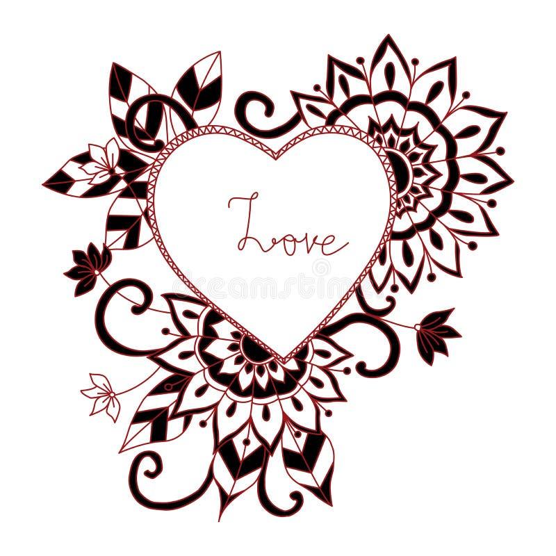 Rote Liebe zentangle Art für Malbuch stockbilder
