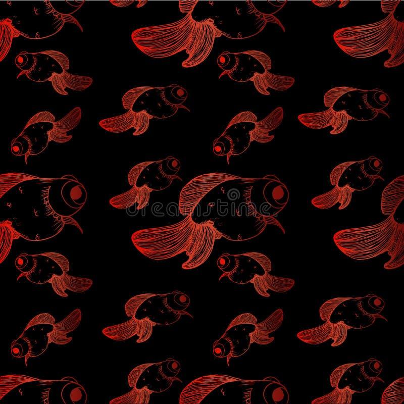 Rote Linien verschiedene Größen des schwarzen Hintergrundmustergoldfisches lizenzfreie abbildung