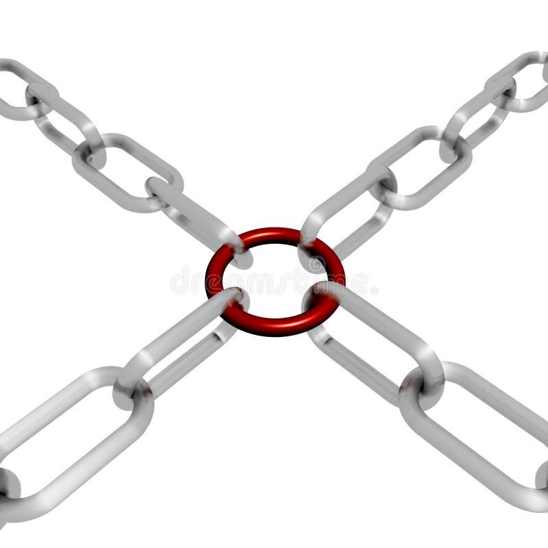 Rote Link-Kette zeigt Stärken-Sicherheit stock abbildung