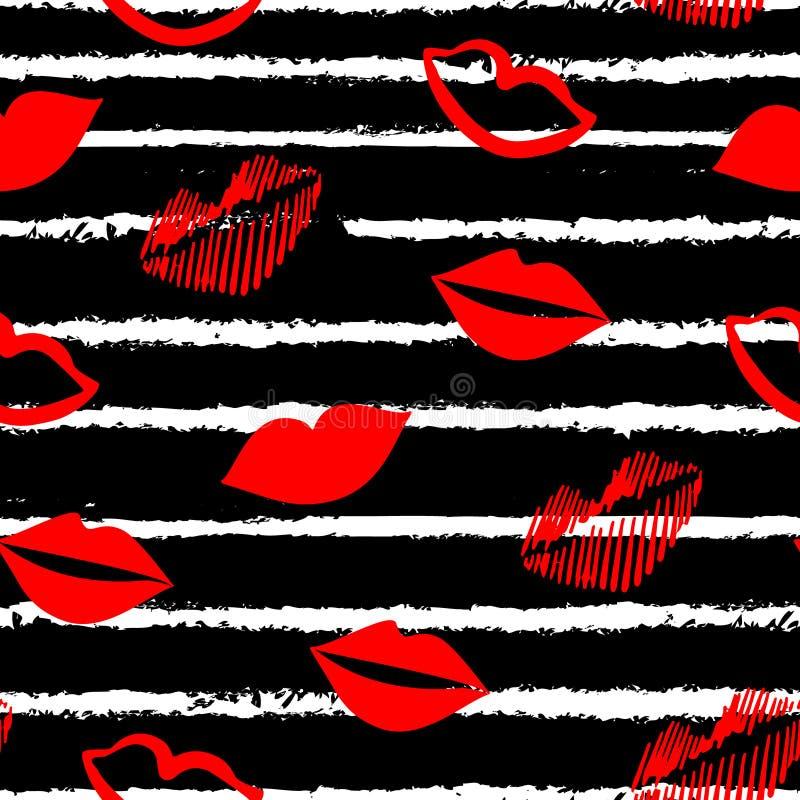 Rote Lippen und weiße Linien auf schwarzem Hintergrund Valentinsgrußtagesverzierung für Gewebe und die Verpackung stock abbildung