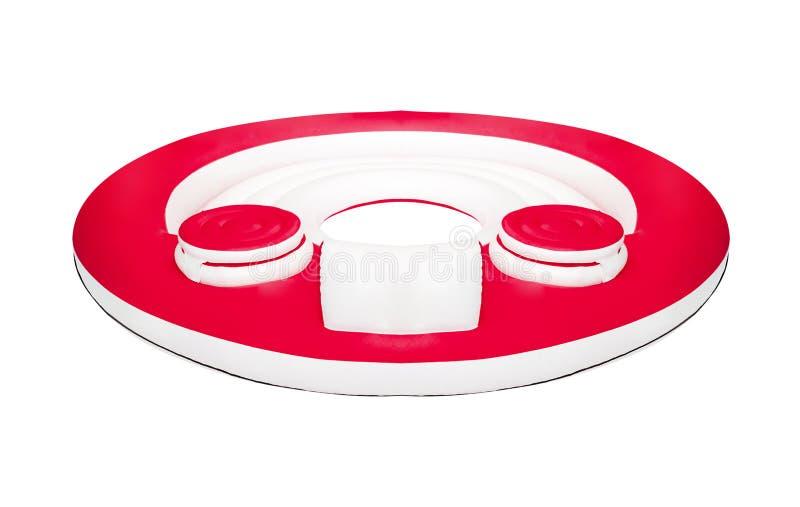 Rote Luftmatraze lokalisiert auf Weiß stockfotos