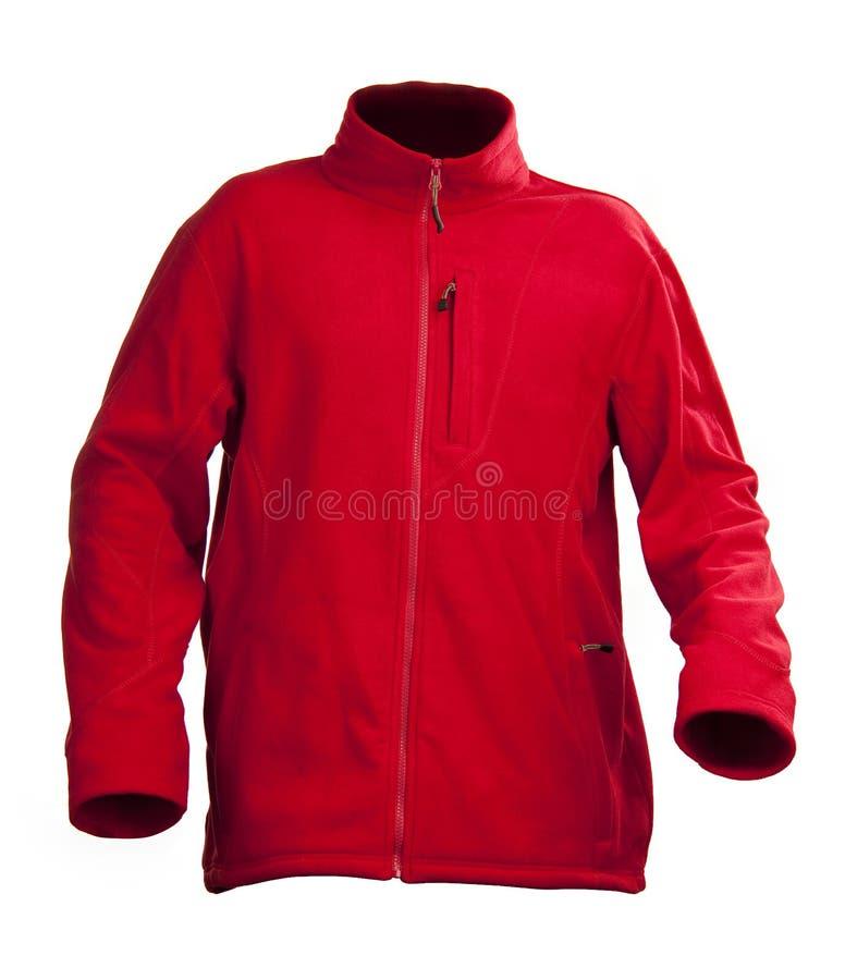 Rote männliche Vliesjacke getrennt über Weiß stockfoto