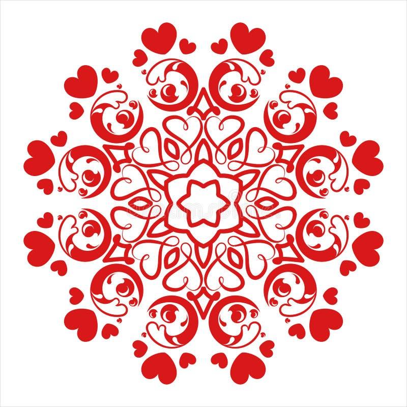 Rote Mandala mit dekorativer Runde der Liebe lizenzfreie abbildung