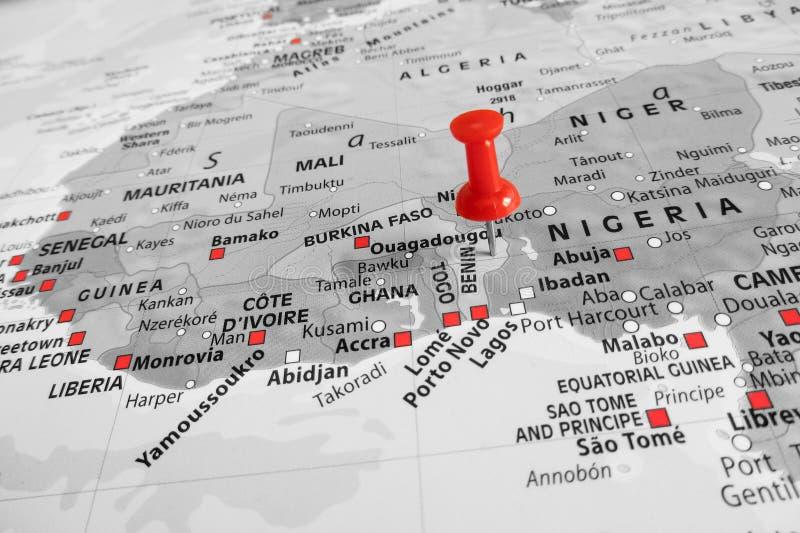 Rote Markierung über Benin stockfoto